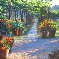 """Howard Behrens Signed """"Siena Arbor"""" Limited Edition 32x24 Giclee on Canvas at PristineAuction.com"""