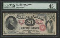 1878 $20 Twenty Dollars Legal Tender Large Bank Note (PMG 45) at PristineAuction.com