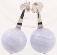Sterling Silver 12mm Blue Lace Bead Drop Earrings at PristineAuction.com
