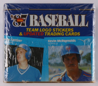 1987 Fleer Baseball Team Logo Stickers & (132) Updated Trading Cards Tin Box at PristineAuction.com