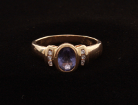 14KT Yellow Gold Tanzanite & Diamond Ring at PristineAuction.com