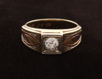 14KT Tri-Color Gold Gent Diamond Ring at PristineAuction.com
