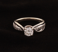 10KT White Gold Diamond Ring at PristineAuction.com