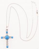 Silver Ceruleite & White Topaz Cross Pendant at PristineAuction.com