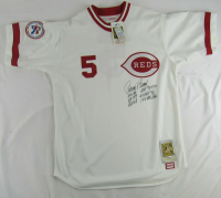 Johnny Bench Signed Reds Jersey with Multiple Career Highlight Stat Inscriptions (JSA COA & CSA Hologram) at PristineAuction.com