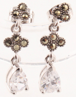 Silver Tone Marcasite & CZ Drop Earrings at PristineAuction.com