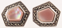Silver Pink MOP & Marcasite Hexagonal Stud Earring at PristineAuction.com