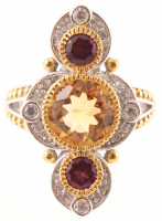 Silver 3.70ct Citrine & Garnet Elongated Ring - SZ 7 at PristineAuction.com