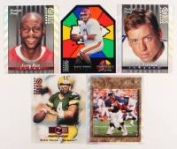 Lot of (5) Oversized Football Cards with Troy Aikman 1997 Studio Press Proofs Silver #1, Jerry Rice 1997 Studio Press Proofs Silver #18, John Elway 1997 Studio Press Proofs Silver #29 at PristineAuction.com