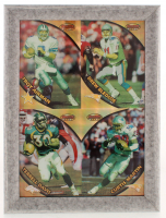 1997 Bowman's Best Jumbo 10x13.5 Custom Framed Card Display with Troy Aikman, Drew Bledsoe, Terrell Davis, & Curtis Martin at PristineAuction.com
