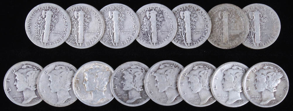 Lot of (15) 1918-1942 Mercury Silver Dimes at PristineAuction.com