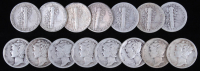 Lot of (15) 1916-1943 Mercury Silver Dimes at PristineAuction.com