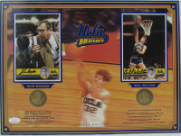 John Wooden & Bill Walton Signed UCLA Bruins 12x16 Custom Matted Postcard Display with (2) Coins (JSA COA) at PristineAuction.com