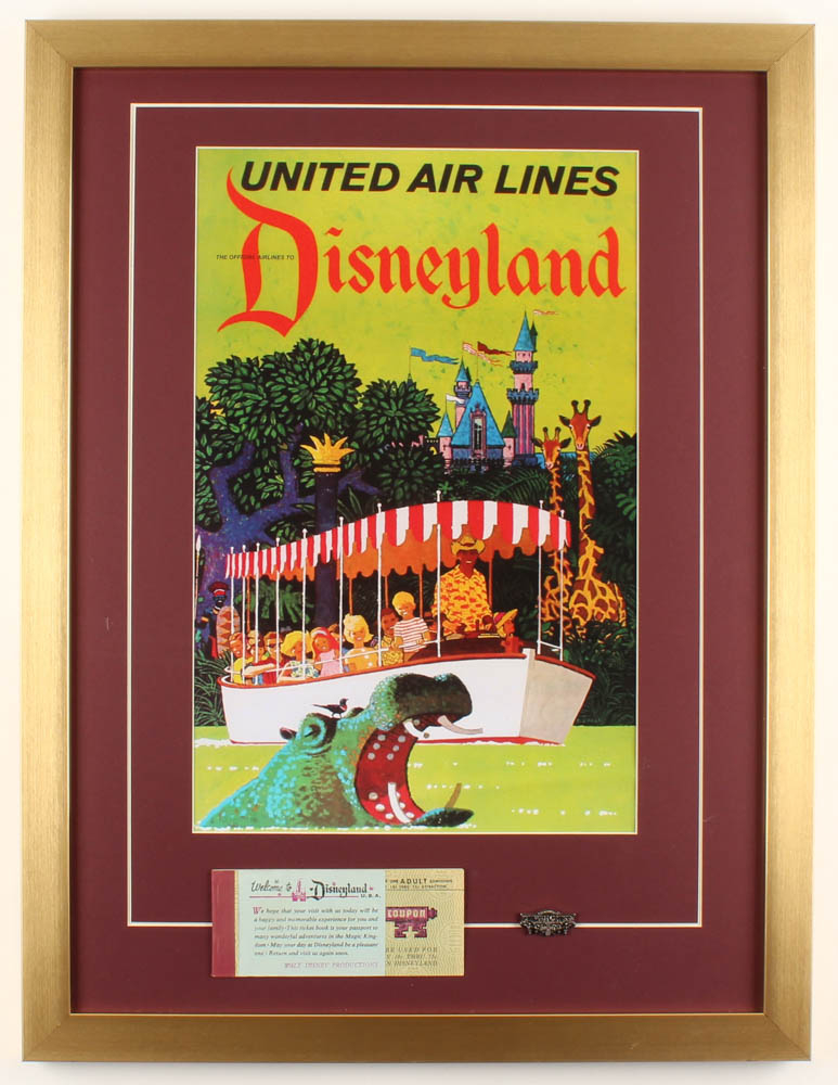 "Walt Disney's ""Disneyland"" 19x25 Custom Framed Print Display with Ticket & Vintage Brass Jungle Cruise Pin at PristineAuction.com"