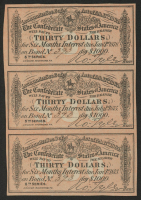 Lot of (3) $30 Thirty Dollars Confederate States of America Richmond CSA Bank Note Bonds at PristineAuction.com