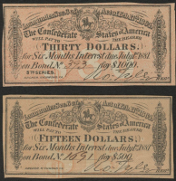 Lot of (2) Confederate States of America Richmond CSA Bank Note Bonds with (1) 1881 $30 Thirty-Dollar Note & (1) 1881 $15 Fifteen-Dollar Note at PristineAuction.com