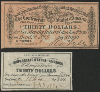 Lot of (2) Confederate States of America Richmond CSA Bank Note Bonds with (1) 1890 $30 Thirty-Dollar Note & (1) 1866 $20 Twenty-Dollar Note at PristineAuction.com