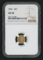 1851 $1 One-Dollar Liberty Head Gold Coin (NGC AU 58) at PristineAuction.com