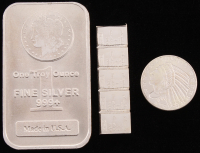Lot of (3) .999 Fine Silver Bullion Bars with (1) Troy Ounce Bar, (1) 1929 1/10 Troy Ounce Round & (1) 1 Gram Silver Valcambi Mint Uncut Bullion Bar at PristineAuction.com