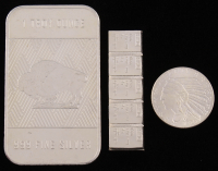 Lot of (3) .999 Fine Silver Bullion Bars with (1) Troy Ounce Bar, (1) 1929 1/10 Troy Ounce Round, & (1) 1 Gram Silver Valcambi Mint Uncut Bullion Bar at PristineAuction.com