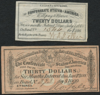 Lot of (2) Confederate States of America Richmond CSA Bank Note Bonds with (1) 1888 $30 Thirty-Dollar Note & (1) 1868 $20 Twenty-Dollar Note at PristineAuction.com