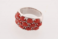 Sterling Silver Coral Wide Band Ring - SZ 9 at PristineAuction.com