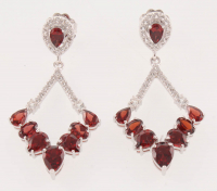 Sterling Silver 9.96ct Garnet Diamond Shape Drop Earrings at PristineAuction.com