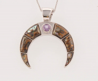 Sterling Silver Bronze Abalone & Amethyst Horn Pendant at PristineAuction.com