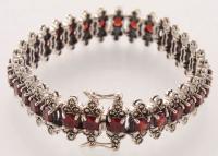 """Sterling Silver Garnet & Marcasite Line Bracelet 7.5"""" at PristineAuction.com"""