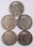 Lot of (5) Peace Silver Dollars at PristineAuction.com