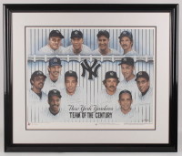 "Yankees LE ""Team of the Century"" 33.5x39.5 Custom Framed Lithograph Display Signed by (8) with Joe DiMaggio Inscribed ""Yankee Clipper"", Reggie Jackson, Phil Rizzuto, Dave Winfield, Yogi Berra, Jim ""Catfish"" Hunter (JSA ALOA) at PristineAuction.com"