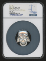 """2019 $5 Five-Dollar """"Star Wars"""" - Darth Vader Helmet - 2 oz Silver Coin - Niue - First Releases - Ultra High Relief (NGC MS 70) at PristineAuction.com"""