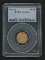 1914-D $2.50 Indian Head Quarter Eagle Gold Coin (PCGS Genuine) at PristineAuction.com