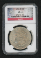 1885-O Morgan Silver Dollar - U.S. Flag Label (NGC MS63) at PristineAuction.com