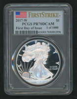 2017-W American Silver Eagle $1 One-Dollar Coin - First Strike, U.S. Flag Label (PCGS PR70 Deep Cameo) First Day of Issue 1 of 1,000 at PristineAuction.com