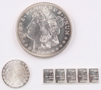 Lot of (7) .999 Fine Silver Bullion Bars with (1) 1 Troy Ounce Bar, (1) 1929 1/10 Troy Ounce Round, & (5) 1 Gram Silver Valcambi Mint Uncut Bullion Bars at PristineAuction.com
