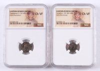Lot of (2) NGC Graded (CH VF) Ancient Romans Coins with Aracadius AD 383-408 & Theodosius II AD 402-450 at PristineAuction.com