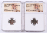 Lot of (2) NGC Graded (CH VF) Ancient Romans Coins with Aracadiud AD 383-408 & Theodosius II AD 402-450 at PristineAuction.com