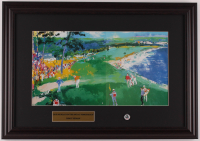 "LeRoy Neiman ""Jack Nicklaus On The 18th"" 15.5x22 Custom Framed Print Display with Original 1972 US Open Pebble Beach Pin at PristineAuction.com"