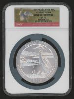 2015-P 5 oz Silver Jumbo 25¢ - Bombay Hook - Delaware - America The Beautiful - ATB - Jumbo Quarter (First Day of Issue) (NGC SP 70) at PristineAuction.com