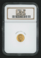 1853 $1 One-Dollar Liberty Head Gold Coin (NGC MS 62) at PristineAuction.com