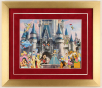 Disneyland 14x16 Custom Framed Photo Display with (4) Vintage Character Pins at PristineAuction.com