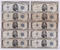 Lot of (10) 1934-1953 U.S. $5 Five Dollar Blue Seal Silver Certificate Notes at PristineAuction.com