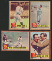 Lot of (4) 1962 Topps Baseball Cards with #139A1 Babe Ruth Special 5 / Babe Hits 60 Pole, #138 Babe Ruth Special 4 / The Famous Slugger, #141 Babe Ruth Special 7 / Twilight Years & #140 Babe Ruth Special 6 / Gehrig and Ruth at PristineAuction.com