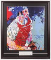 "LeRoy Neiman Signed ""Thurman Munson"" 29x34.5 Custom Framed Cut Display (PSA COA) at PristineAuction.com"