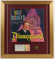 "1965 Walt Disney's ""Disneyland"" 16.5x18 Custom Framed Souvenir Guide Display with Tickets & Coin at PristineAuction.com"