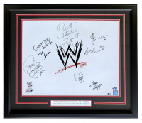 WWE Hall of Famers 22x27 Custom Framed Photo Display Signed by (7) with Roddy Piper, Bruno Sammartino, Bret Hart, Jimmy Hart With Multiple Inscriptions (Beckett LOA) at PristineAuction.com