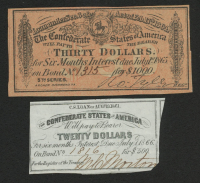 Lot of (2) Confederate States of America Richmond CSA Bank Note Bonds with (1) 1866 $20 Twenty-Dollar Note & (1) 1865 $30 Thirty-Dollar Note at PristineAuction.com
