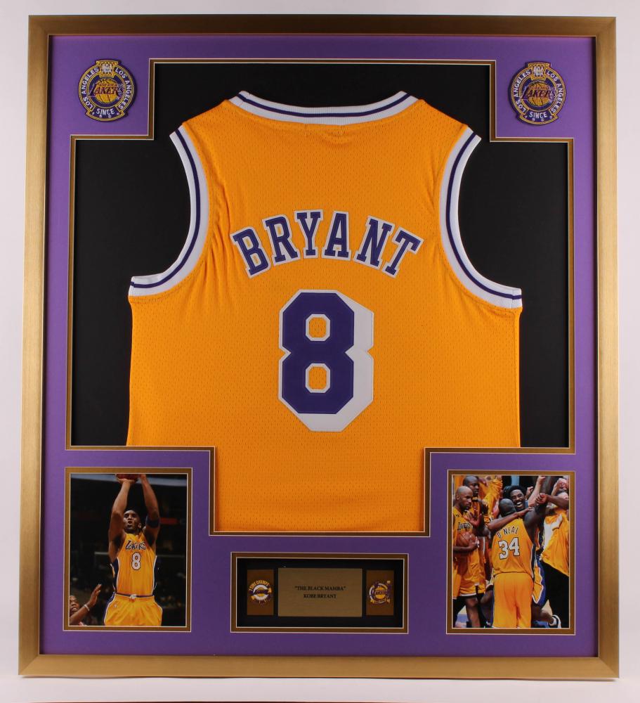 Kobe Bryant Lakers 32x36 Custom Framed Jersey with (2 ...