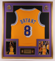 Kobe Bryant Lakers 32x36 Custom Framed Jersey with (2) Championship Pins at PristineAuction.com